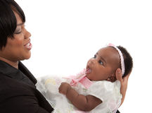 Mother holding 3-month old baby girl  on white background Stock Images