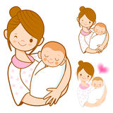 The mother holding newborn infant. Home and Family Character Des Stock Photos