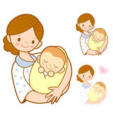 The mother holding newborn infant. Marriage and Parenting Charac Royalty Free Stock Photos