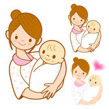 The mother holding newborn infant. Marriage and Parenting Charac Stock Image