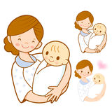 The mother holding newborn infant. Marriage and Parenting Charac Stock Photography