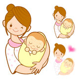 The mother holding newborn infant. Marriage and Parenting Charac Stock Photo