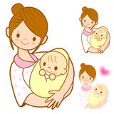 The mother holding newborn infant. Marriage and Parenting Charac Royalty Free Stock Photography