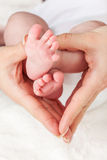 Mother holding newborns feet stock photo