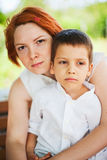 Mother holding son Royalty Free Stock Images