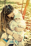 Mother holding sweet baby boy, closeup shot Royalty Free Stock Photography