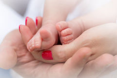 Mother holding tiny foot of newborn baby, close-up Royalty Free Stock Photos