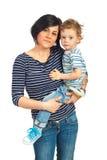 Mother holding toddler boy Royalty Free Stock Photos