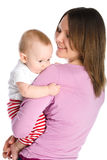 Mother holds baby boy Stock Images