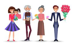 Characters Celebrate International Womens Day. Mother holds daughter and bouquet on arms, grandfather make present to grandmother and man in tuxedo with roses stock illustration