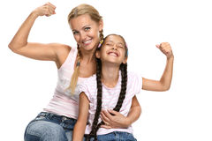 Mother holds a daughter cheerfully laugh Stock Image