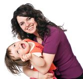 Mother holds daughter on hands Stock Photo