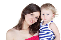 Mother holds little son. In striped singlet in her arms Stock Photos