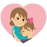 Mother Hugging Daughter. Cute little girl daughter hugging mom celebrating Mother`s Day vector illustration