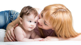 Mother hugging her baby. Boy Stock Photo