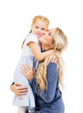 Mother Hugging Her Beautiful Daughter Isolated On White. Family, Stock Photos