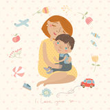 Mother hugging her child,cute pattern Stock Photo