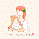 Mother hugging her child, mothers day greeting card illustration Royalty Free Stock Image