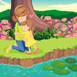 A mother hugging her daughter at the riverbank. Illustration of a mother hugging her daughter at the riverbank stock illustration