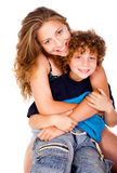Mother hugging her lovable young kid Royalty Free Stock Photos