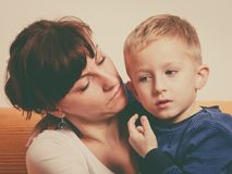 Mother hugging her son, little boy. Family love, beauty of parenting concept. Mother hugging her son, little young boy stock photos