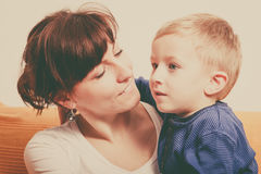 Mother hugging her son, little boy. Family love, beauty of parenting concept. Mother hugging her son, little young boy stock images