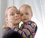 Mother hugging son Royalty Free Stock Photo