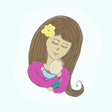 Mother hugs baby picture paints on a light background royalty free illustration