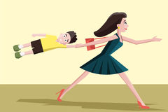 Mother hurrying with the child Royalty Free Stock Images