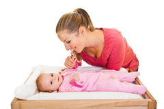 Mother with infant isolated on Royalty Free Stock Photography