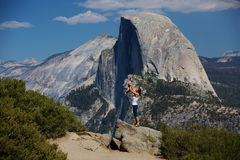 Mother with infant son visit Yosemite national park in Californi Stock Image