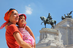 Free Mother Is Holding Daughter, Equestrian Monument Royalty Free Stock Image - 18361656