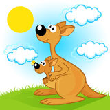Mother kangaroo with baby. Vector  illustration, eps Stock Photos