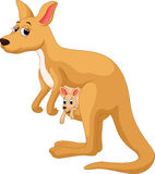 Mother kangaroo with her baby. Illustration of mother kangaroo with her baby Royalty Free Stock Photos