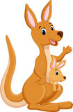 Mother kangaroo with her baby royalty free illustration
