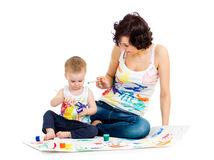 Mother with kid boy painting Stock Photography