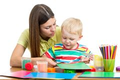 Mother and kid boy play together Stock Images