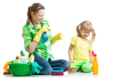 Mother with kid clean room having fun Stock Photo