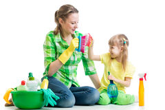 Mother and kid clean room having fun Stock Photo