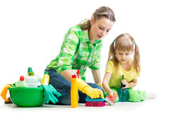 Mother and kid cleaning room Royalty Free Stock Photos