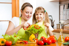 Mother and kid cook and have fun at kitchen Royalty Free Stock Images