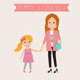 Mother and Kid daughter  mommy I love you banner.illustration Royalty Free Stock Photography