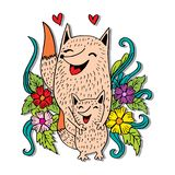 Mother and kid Foxes. White background royalty free illustration
