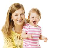 Mother and Kid Girl, Happy Mom with Baby Daughter, Infant Child Royalty Free Stock Images