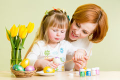 Mother and kid painting easter eggs Royalty Free Stock Photography
