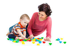 Mother and son kid play Stock Images