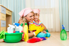 Mother and kid ready to room cleaning Stock Photography