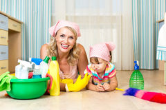 Mother and kid ready to room cleaning Stock Photo