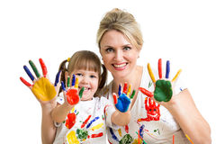 Mother and kid show painted palms Royalty Free Stock Photography