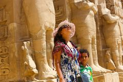 Mother with kid at temple of Habu Stock Photography
